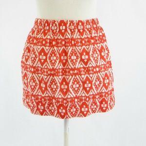 Orange white geometric J. CREW A-line skirt sizeXS